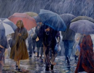 walking in the rain..